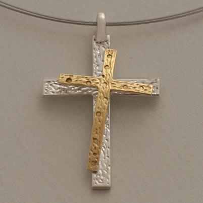 Χειροποίητος μοντέρνος δίχρωμος γυναικείος σταυρός από ασήμι ST631