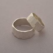 Hammered sterling silver matching wedding bands, bridal ring set, BE109