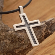 Oxidized Sterling Silver Cross Νecklace, Men's Religious Jewelry ST362