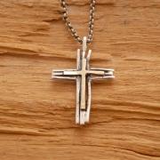 Χειροποίητος ρουστίκ ασημόχρυσος σταυρός, εμπνευσμένος από τα κλαδιά των δέντρων ST611