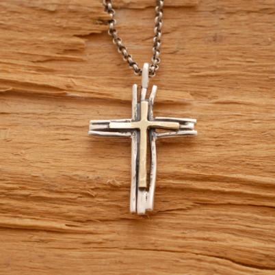 Rustic sterling silver and gold twig cross necklace, Tree Branch Religious Pendant ST611