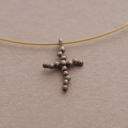 Tiny Unique Cross Pendant Necklace for Women in Rhodium Plated Silver ST659m