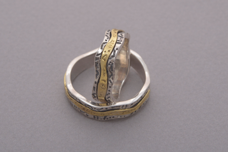 Silver and gold handmade wedding bands